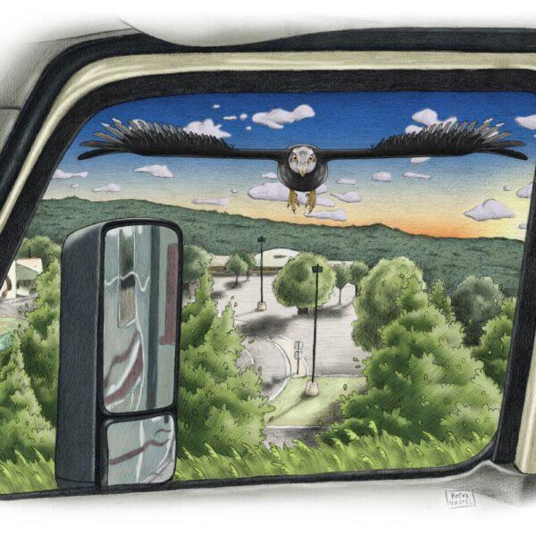 Super Thunderbird through Semi Truck Window Illustration